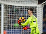 Chelsea goalkeeper Thibaut Courtois in action during his side's Premier League clash with Leicester City at the King Power Stadium on January 14, 2017