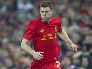 James Milner in action during the EFL Cup semi-final between Liverpool and Southampton on January 25, 2017