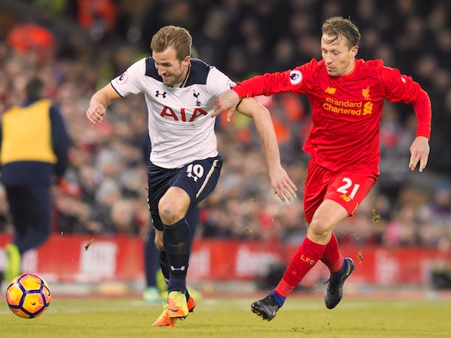 Harry Kane and Lucas Leiva in action during the Premier League game between Liverpool and Tottenham Hotspur on February 11, 2017