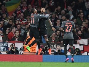 Arturo Vidal celebrates scoring during the Champions League game between Arsenal and Bayern Munich on March 7, 2017