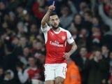 Theo Walcott celebrates opening the scoring during the Champions League game between Arsenal and Bayern Munich on March 7, 2017