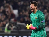 Alisson Becker of Roma during the Europa League match against Lyon on March 16, 2017