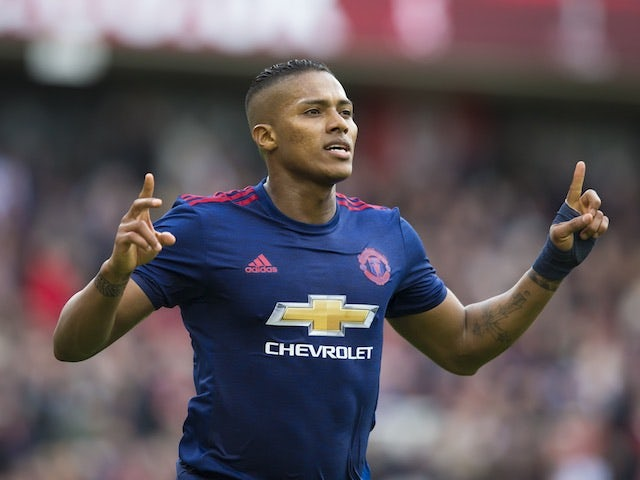 Antonio Valencia celebrates scoring during the Premier League game between Middlesbrough and Manchester United on March 19, 2017