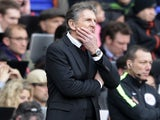 Claude Puel watches on during the Premier League game between Tottenham Hotspur and Southampton on March 19, 2017