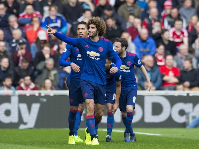 Marouane Fellaini celebrates scoring during the Premier League game between Middlesbrough and Manchester United on March 19, 2017