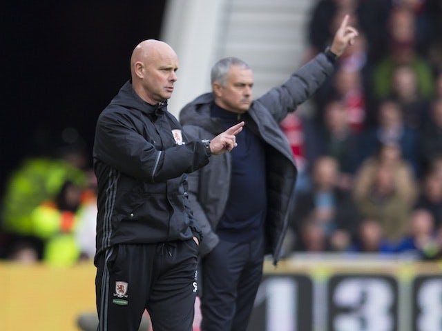 Steve Agnew and Jose Mourinho on the touchline during the Premier League game between Middlesbrough and Manchester United on March 19, 2017