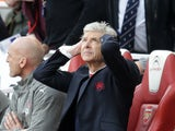 Arsene Wenger reacts during the Premier League match between Arsenal and Manchester City on April 2, 2017