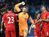 A delighted Simon Mignolet after the Premier League game between West Bromwich Albion and Liverpool on April 16, 2017