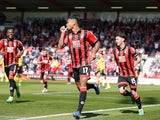 Joshua King celebrates scoring during the Premier League game between Bournemouth and Middlesbrough on April 22, 2017