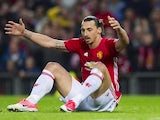 A frustrated Zlatan Ibrahimovic during the Europa League game between Manchester United and Anderlecht on April 20, 2017