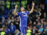 Diego Costa celebrates scoring during the Premier League game between Chelsea and Southampton on April 25, 2017