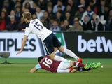 West Ham United's Mark Noble makes a bookable challenge on Tottenham Hotspur's Eric Dier on May 5, 2017