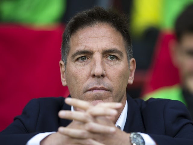Celta Vigo manager Eduardo Berizzo on the touchline at the Europa League match against Manchester United on May 11, 2017