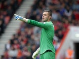Jack Butland in action during the Premier League game between Bournemouth and Stoke City on May 6, 2017