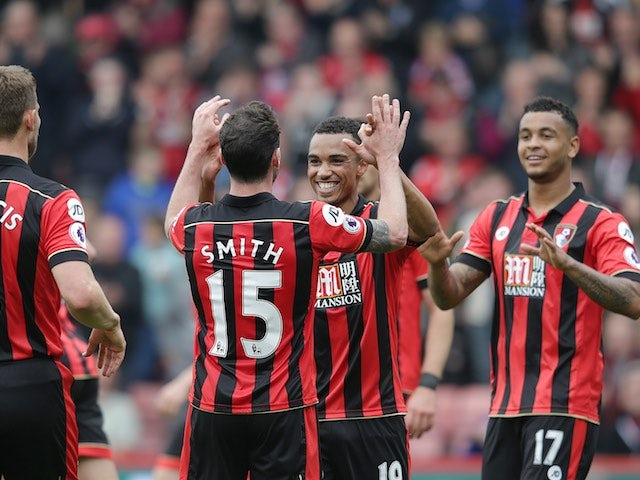 Junior Stanislas celebrates levelling the scores during the Premier League game between Bournemouth and Stoke City on May 6, 2017