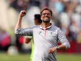 Jurgen Klopp celebrates after the Premier League game between West Ham United and Liverpool on May 14, 2017