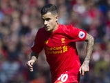 Philippe Coutinho in action during the Premier League game between Liverpool and Southampton on May 7, 2017