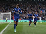 Riyad Mahrez celebrates scoring during the Premier League game between Leicester City and Watford on May 6, 2017