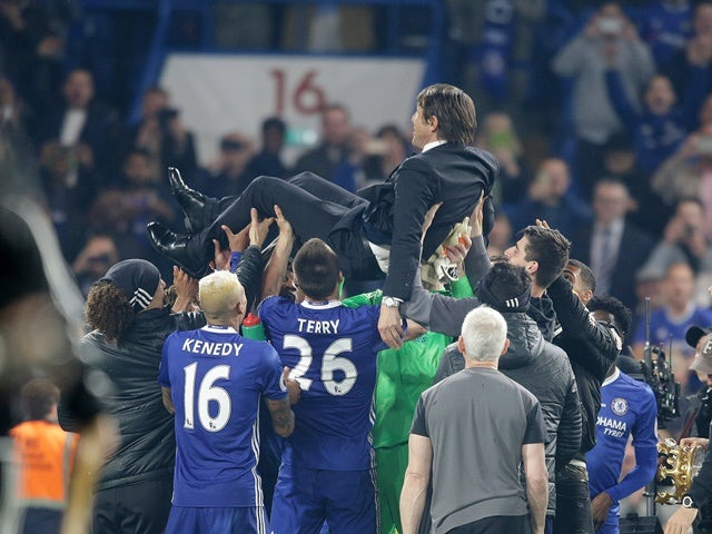Antonio Conte is held aloft following Chelsea's win over Watford on May 15, 2017