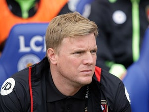 Eddie Howe watches on during the Premier League game between Leicester City and Bournemouth on May 21, 2017
