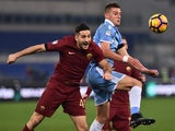 Roma's Kostas Manolas and Lazio's Milinkovic Savic on December 4, 2016