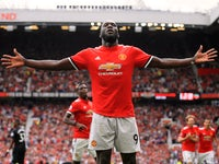 Romelu Lukaku celebrates scoring the second during the Premier League game between Manchester United and West Ham United on August 13, 2017
