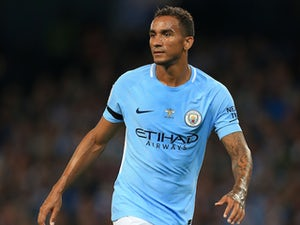 Danilo in action during the Premier League game between Manchester City and Everton on August 21, 2017