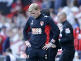Eddie Howe looks downbeat during the Premier League game between Bournemouth and Watford on August 19, 2017