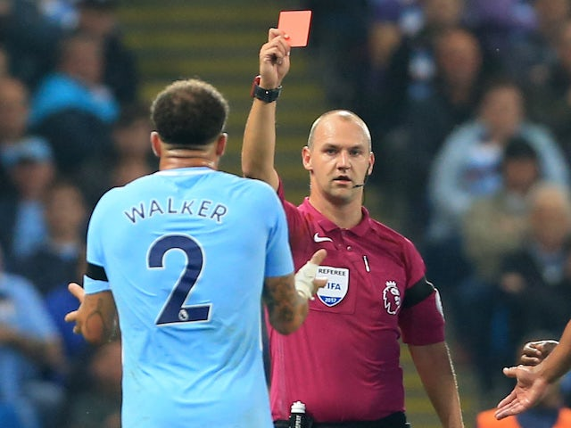 Kyle Walker sees red during the Premier League game between Manchester City and Everton on August 21, 2017