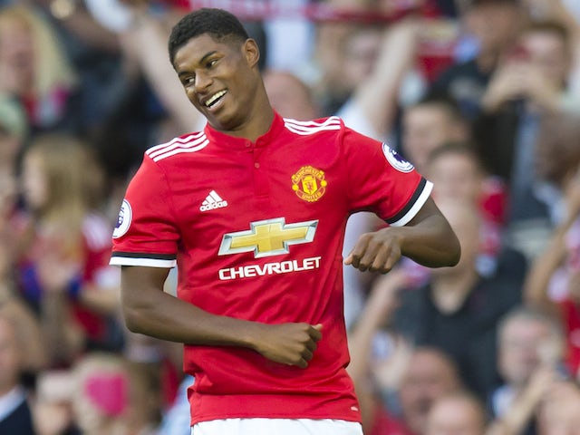 Marcus Rashford celebrates scoring during the Premier League game between Manchester United and Leicester City on August 26, 2017