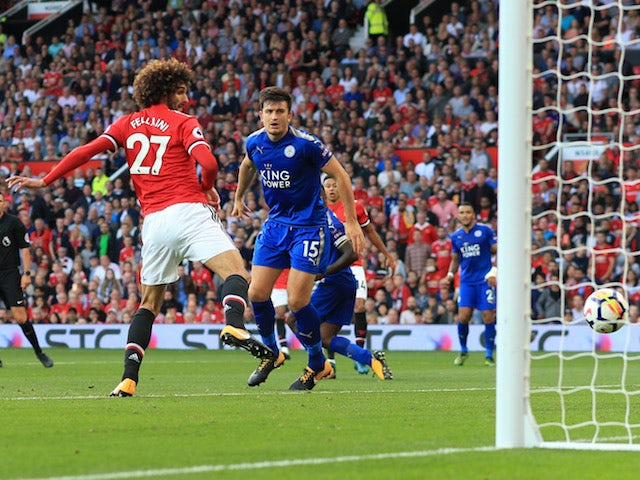 Marouane Fellaini scores the second during the Premier League game between Manchester United and Leicester City on August 26, 2017