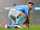 Sergio Aguero in action during the Premier League game between Manchester City and Everton on August 21, 2017