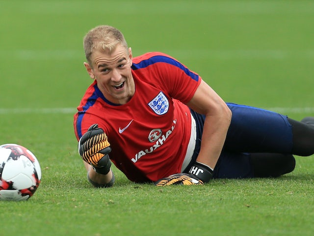 Joe Hart in action during an England training session on August 29, 2017