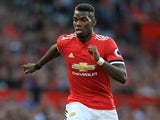 Paul Pogba in action during the Premier League game between Manchester United and Leicester City on August 26, 2017