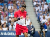 Roger Federer celebrates during the second round of the US Open on August 31, 2017
