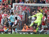 Danny Welbeck opens the scoring during the Premier League game between Arsenal and Bournemouth on September 9, 2017