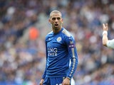 Islam Slimani is caught on camera during the Premier League game between Leicester City and Chelsea on September 9, 2017