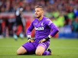 Jack Butland reacts to United taking a brief lead during the Premier League game between Stoke City and Manchester United on September 9, 2017