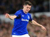 Everton defender Michael Keane in action during his side's Europa League qualifier with Hajduk Split