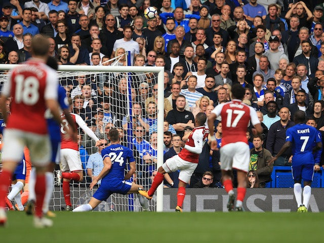 Alexandre Lacazette has a missed chance during the Premier League game between Chelsea and Arsenal on September 17, 2017