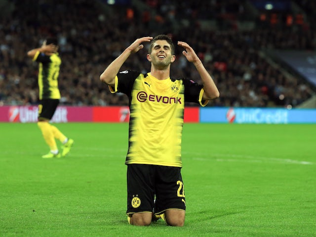 Borussia Dortmund midfielder Christian Pulisic reacts to a missed chance during his side's Champions League Group H clash with Tottenham Hotspur at Wembley on September 13, 2017