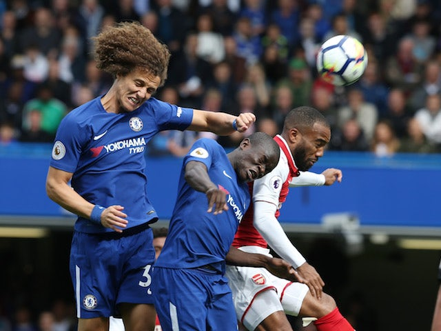 David Luiz, N'Golo Kante and Alexandre Lacazette in action during the Premier League game between Chelsea and Arsenal on September 17, 2017