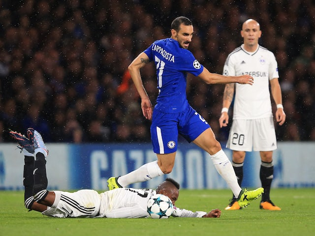Davide Zappacosta in action during the Champions League game between Chelsea and Qarabag on September 12, 2017
