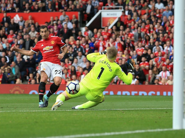 Henrikh Mkhitaryan scores the second during the Premier League game between Manchester United and Everton on September 17, 2017