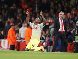 Jhon Cordoba celebrates scoring during the Europa League game between Arsenal and FC Koln on September 14, 2017