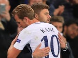 Mauricio Pochettino embraces Harry Kane during the Champions League game between Tottenham Hotspur and Borussia Dortmund on September 13, 2017