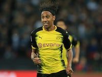 Pierre-Emerick Aubameyang in action during the Champions League game between Tottenham Hotspur and Borussia Dortmund on September 13, 2017