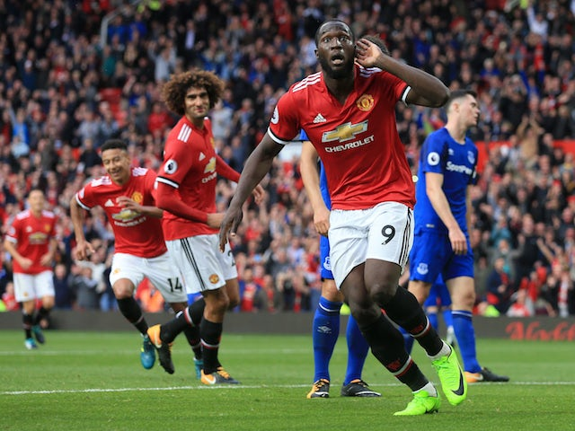 Romelu Lukaku celebrates scoring the third during the Premier League game between Manchester United and Everton
