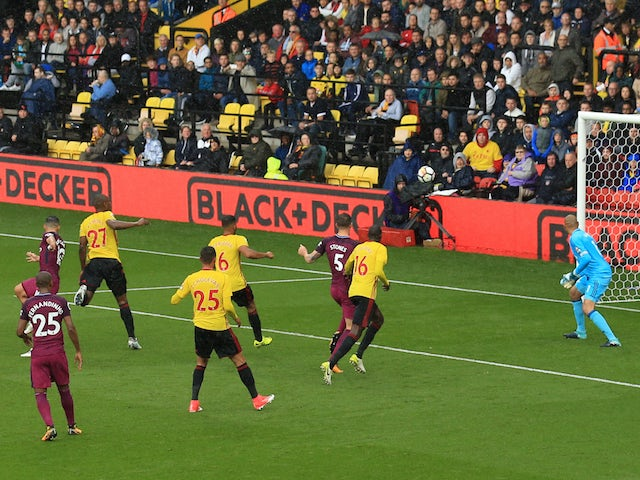 Sergio Aguero scores the opener during the Premier League game between Watford and Manchester City on September 16, 2017