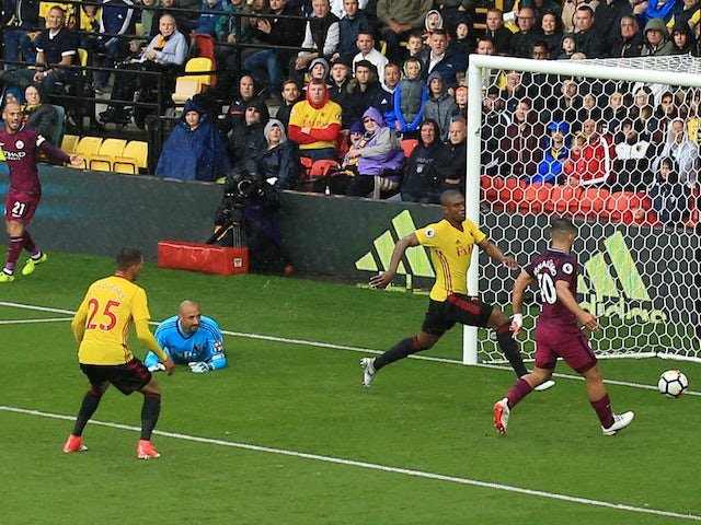 Sergio Aguero nabs his second during the Premier League game between Watford and Manchester City on September 16, 2017